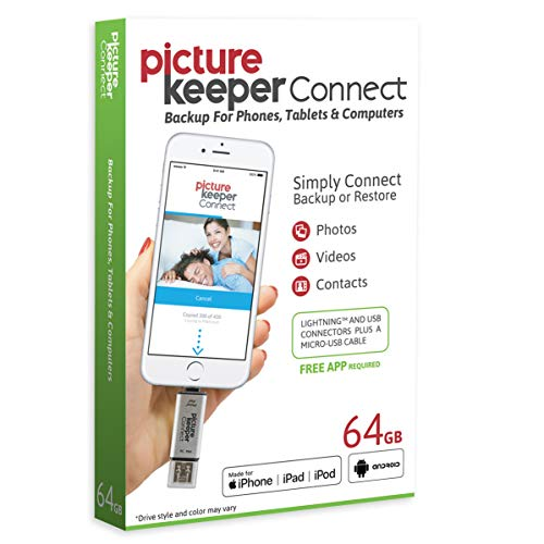 iPhone Smart USB Flash Drive 64GB [Apple MFI Certified] Picture Keeper Connect - Lightning Memory Expansion Backup for Apple iOS