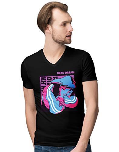 BLAK TEE Herren Dead Dream Anime Girl V-Neck T-Shirt XXL
