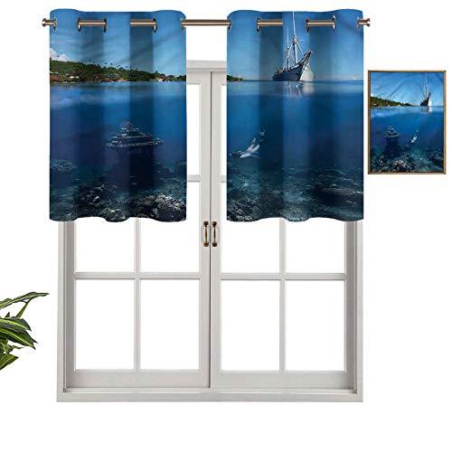 Hiiiman Cortina con aislamiento térmico para natación, buceo bajo el agua, juego de 1, 127 x 45 cm para decoración de salón comedor