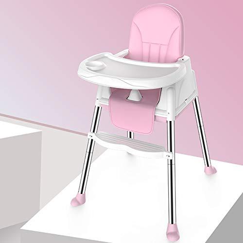 Tabouret Haut Pratique bébé PP sécurité Portable Chaise réglable Plateau siège Enfant Chaise de Salle à Manger Facile à Assembler-Pink