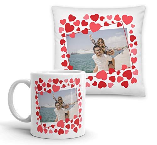 Kembilove Pack Cojín y Taza Personalizada de Pareja - Taza de Cafe Personalizada con Foto y Nombre de tu Pareja - Regalo Original para los Enamorados, Cumpleaños, Aniversarios