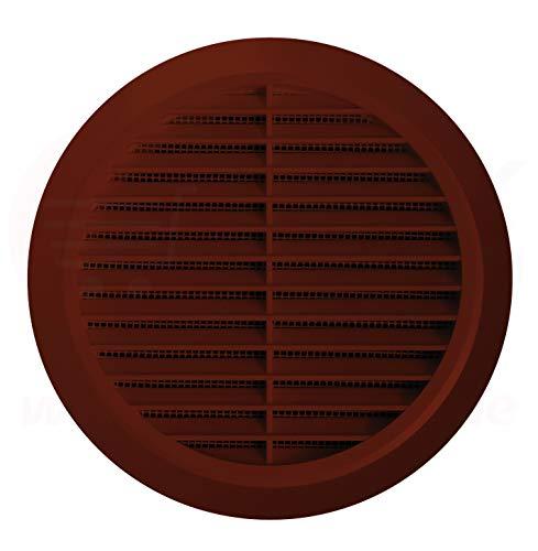 Lüftungsgitter Rund Insektennetz Abluftgitter Insektenschutz Kunststoff Ø 90 mm braun