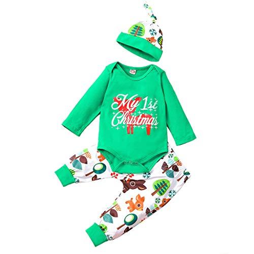 Janly Liquidación Venta 0-24 meses Bebé Top Pantalones SetChristmas Recién Nacido Niños Bebé Niñas Trajes Ropa 3pcs Pelele+Pantalones+Sombrero Set para 9-12 Meses (Verde)