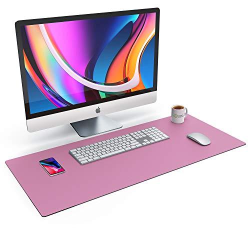 CSL Tischunterlage Schreibtischunterlage 90 x 40cm - Premium PU-Leder Schreibunterlage - zusätzliche Anti Rutsch Beschichtung - wasserdicht - XXL Mauspad - für Büro u Home Office 900x400 mm Dunkelrosa