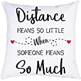 Munzong Long Distance Love Throw Pillow Covers 18 x 18 Inch, Double Sied Cotton Linen Square Pillowcases for Sofa Bedroom Chair, Cushion Covers for Holiday Anniversary Home Decor