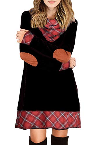 Ancapelion Damen Langarm Minikleid Kariertes Kleid Rollkragen Strickkleid A-Linie Sweater Herbstkleid Lose Kleider Pullover Kleid für Winter Herbst, Schwarz, L