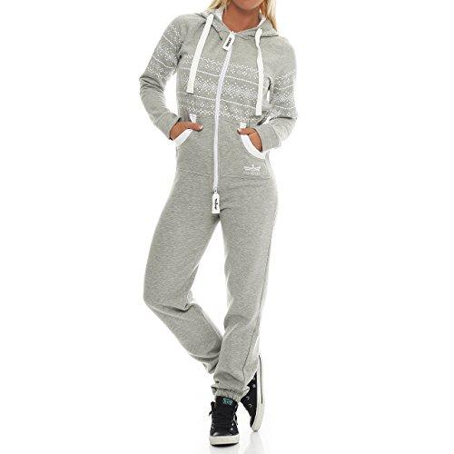 Finchgirl 31A3 Azteken FG117 Damen Jumpsuit Overall Jogging Hellgrau M