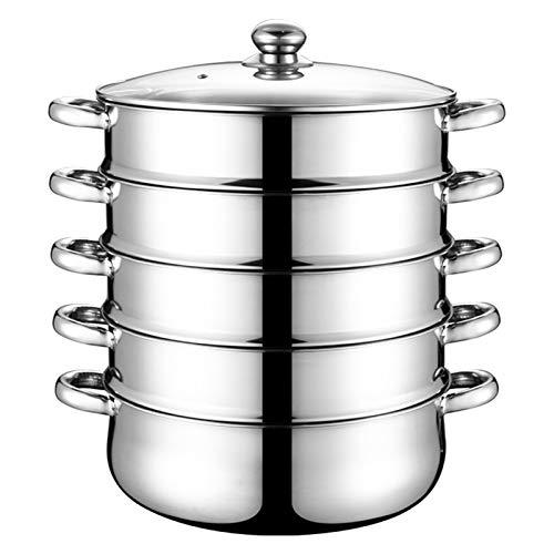 AKlamater Cuiseur vapeur à 5 étages avec couvercle en verre et en acier inoxydable Chaudière multicouche haute capacité- Pour la cuisine