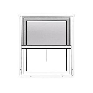 JAROLIFT 2 en 1 Mosquitera enrollable Volaris, mosquitera para ventanas con marco de PVC en color blanco, 100 x 140 cm