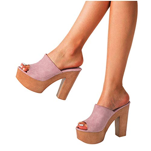 Aniywn Wedges Sandals for Womens Summer Shoes Thick-Soled High Heel Ladies Slip-On Shoes Fish Mouth Slipper Pink (Pink White High Heel)