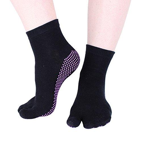 Hoopomania® One Toe Yogasocken mit Antirutsch-Effekt durch Gumminoppen in schwarz, Größe S (35-38)