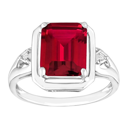 2 3/4 ct Emerald-Cut Created Ruby Ring with Diamonds in Sterling Silver, Size 7