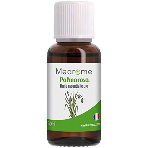 Huile Essentielle de PALMAROSA BIO - Cymbopogon Martinii - Distillée en FRANCE - Mearome - 30 ml - 100% Pure et Naturelle, HEBBD, HECT