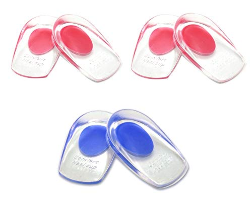 JZK 3 Paare klar Fersensohle Gel Silikon Sport Fersenschutz Fersenkissen erhöhen für männlich weiblich Silikon-Fersenpolster - Schmerzlinderung bei Fuß (2 Paare x Rot + 1 Paar x Blau)