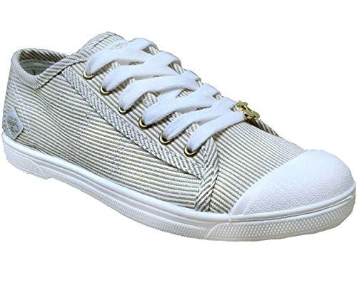 Le Temps des Cerises Unisex Basic 02 Sneaker, Strip Gold, 41 EU