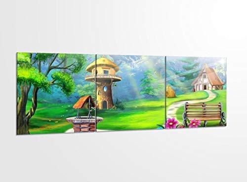 Acrylglasbilder 3 Teilig 150x50cm Märchen Haus Wald Kinderzimmer Acrylbild Bilder Acrylglas Wand Bild Kunstdruck 14?5521, Acrylglas Größe 6:BxH Gesamt 150cmx50cm