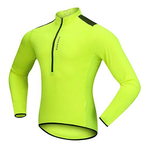 Cycling Jacket MTB Mountain Bike Cycling Jersey Half Open Zipper Breathable Quick-Drying Long Sleeves Coat for Cycling Running Walking,Green,XXL