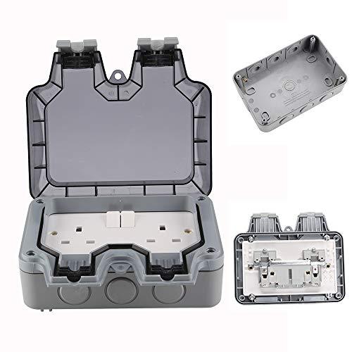MorNon 13A Resistente Intemperie Exterior 2 Gang Doble Interruptor Doble Enchufe IP66 Uso Exterior