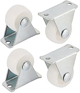 eDealMax 1 Inch Dia Metal Top Plate Hard Plastic Wheels Rigid Fixed Caster White 4pcs