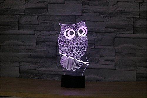 TRADE® Animal Chouette Illusion 3D 7 couleurs changeantes Interrupteur LED Lampe de bureau Lampe de nuit pour enfants Famille Cadeau de vacances