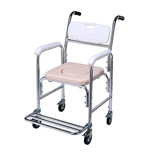 Stühle MEI Älterer Rollstuhl Mobiler Toilettenstuhl, Teleskop Pedal und Tragbares Töpfchen, Rutschfester Griff, Duschstuhl für Schwangere/Behinderte, Rosa