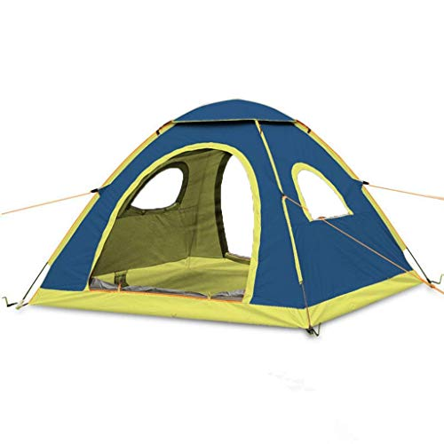 HUIYAN Camping Tents, 3-4 Person Outdoor Camping Tent | Automatic Quick Opening Rain Dome Tent | Family-camping, Fishing, Picnicking, 3 Colors (Color : Blue)