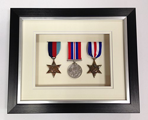 Picture Framing Direct Black and silver 3d Deep Box Frame To Display War/Military/Sports Medals (Ivory Mount, Three Medals)