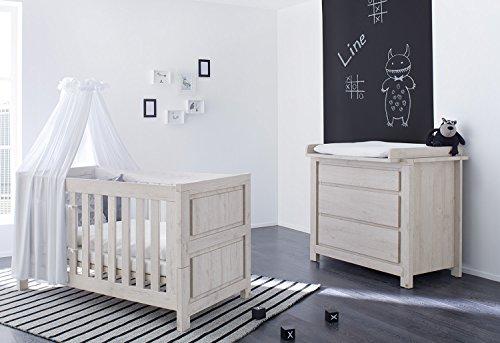 Pinolino 090063B 2-Teilig, Kinderbett und Breite Wickelkommode mit Wickelaufsatz, aus MDF, 140 X 70 cm, eiche grau