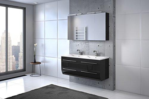 Bad11® - Badmöbelset ZESIRO CLASSIC in hochglanz schwarz - mit Doppelwaschbecken und 2 x Spiegelschrank, Waschtisch unten abgerundet, Farbauswahl