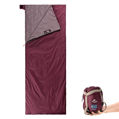Naturehike Ultralight Sleeping Bag - Envelope Lightweight Portable, Waterproof, Comfort with Compression Sack - Great for 3 Season Traveling, Camping, Hiking (Wine Red)
