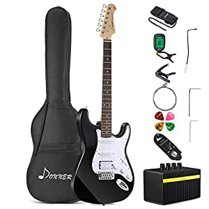 Donner DST-1B Solid Full-Size 39 Inch Electric Guitar Kit Black, with Amplifier, Bag, Capo, Strap, String, Tuner, Cable, Picks