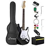 Donner DST-1B Full-Size 39 Inch Electric Guitar Black with Amplifier, Bag, Capo, Strap