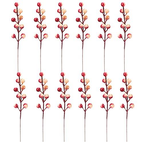 GoMDSA - 24 steli artificiali a bacca rossa, 20 cm di simulazione di agrifoglio, falso rosa agrifoglio di bacca di Natale per albero di Natale fai da te ghirlanda di nozze decorazione per la casa