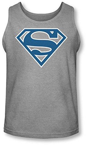 Superman - - Blue & White Shield Tank-Top pour hommes, Large, Heather