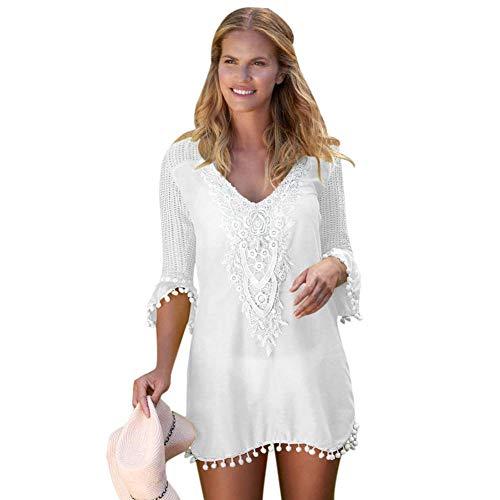 Cxypeng Strandbluse,Mesh Spitze Bluse Urlaub Bluse, Fünf-Punkt-Ärmel V-Ausschnitt Plus Größe Strandrock-White_S,Damen Einzigartig Bikini Cover Up