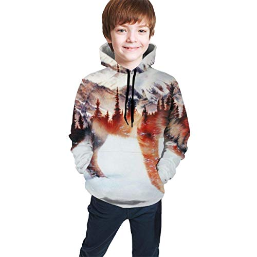 EYSKJ Felpa con Cappuccio Manica Lunga Wolf And Forest Youth Boys Girls 3D Print Pullover Hoodies Hooded Seatshirts Sweater