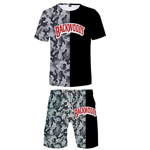 2 Piezas para Hombre Traje Conjunto De Camisa Y Pantalones Cortos De Manga Corta Traje Deportivo Conjuntos De Pantalones Cortos Y Camisetas para Hombre Conjunto De ImpresióN 3D XL