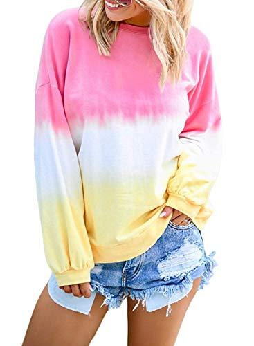 Yanekop Womens Tie Dye Printed Sweatshirt Color Block Pullover Lightweight Slouchy Shirt(Pink,S)