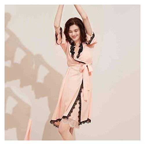 zyy Bata de baño de Primavera y Verano casero Vestido Noche Pijamas Delgada Encaje hacia Arriba Vestido Vestido baño Mujer otoño