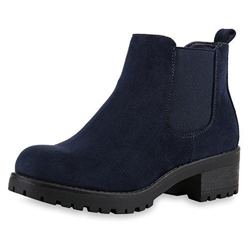 SCARPE VITA Bequeme Damen Chelsea Boots Profilsohle Stiefeletten Blockabsatz 149654 Dunkelblau Velour 37
