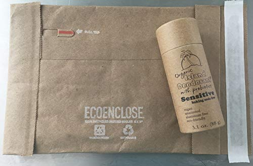Organic Island Deodorant Sensitive/Baking Soda Free Deodorant with Probiotics in Compostable Push Up Tube, Biodegradable, Plastic Free, Eco-friendly, Zero Waste (3 oz stick)