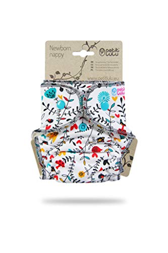 Pañal lavable clásico Petit Lulu | recién nacido | Cierre a presión | Reutilizable y lavable | Fabricado en Europa (Wildflowers)