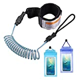 ZOCIPRO Surfboard Leash with 2 Pcs Waterproof Phone Pouch, Durable Bodyboard Leash Surfing leash for Surfing on SUP Paddle Board, stand up paddle, Comfortable Kayak Paddle Leash
