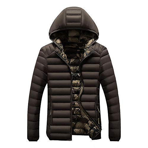 Mens Padded Hood Jacket Fleece Lined Winter Coat Autumn and winter hooded men's slim-brown_L