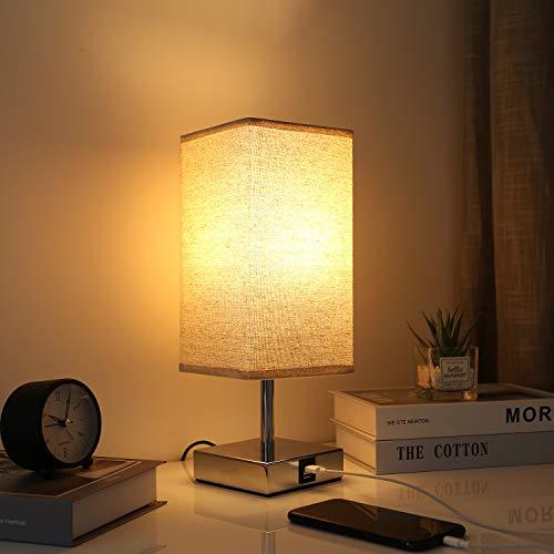 Kakanuo Lampada da Comodino Touch, Lampada da Tavolo a LED E27 Dimmerabile da 5W con Utili Porte di Ricarica USB, Lampada da Comodino Moderna per Scrivania del Salotto della Camera da Letto