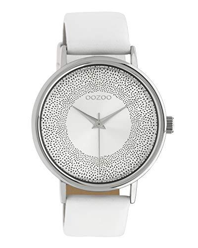Oozoo Damenuhr mit Glitzereffekt und Lederband 42 MM Silberfarben/Weiß C10575
