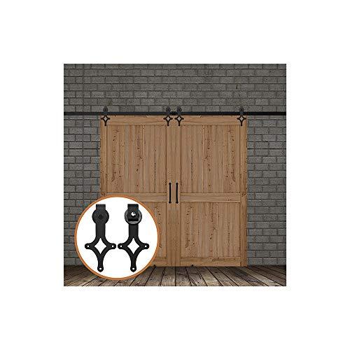 LWZH 8.2FT/250 cm Kit de Puerta de Granero Puertas Corredizas de Granero Kit de Puerta Corredera para Dos Puertas