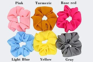 ransiy 6 Colors Large Bubble Chiffon Solid Color Hair Scrunchies Hair Bow Flower Hair Ties Accessories for Women Girls