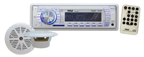 Marine Receiver & Speaker Kit - In-Dash LCD Digital Display Stereo w/ Clock Function AM FM Tuning Radio 6.5' Speaker System USB/SD/MMC Readers Panel Button & Remote Control - Pyle White PLMRKT33WT