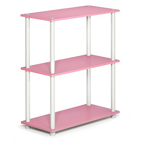 Furinno Turn-N-Tube 5-Tier Multipurpose Shelf Display Rack, Single, Pink/White